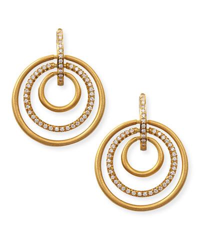 18k Moderne 3-Ring Pave Diamond Earrings, 1 1/8