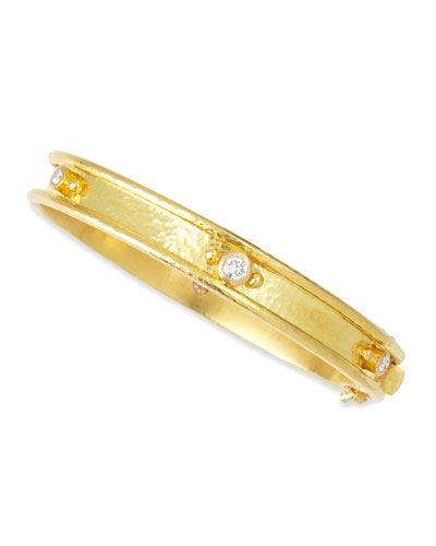 19k Gold Flat Thin Diamond Bangle