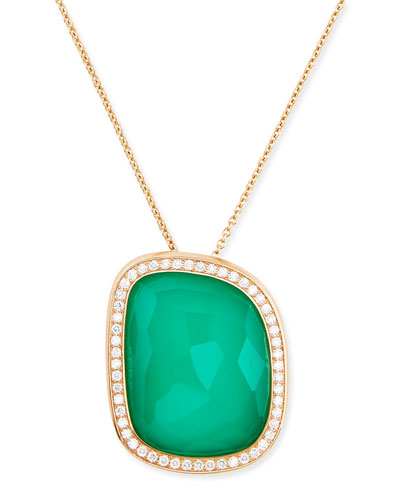 18k Rose Gold African Jade Collection Necklace with Green Agate Pendant