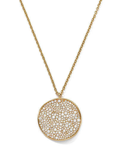 18K Gold Stardust Wavy Disc Pendant Necklace with Diamonds, 16-18""