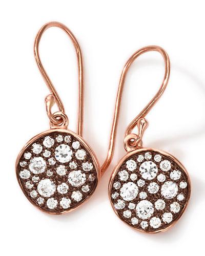 18k Rose Gold Stardust Flower Mini Diamond Drop Earrings