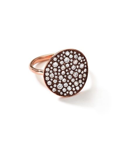 18k Rose Gold Stardust Flower Ring with Diamonds
