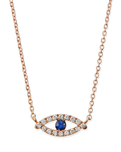 Rose Gold Evil Eye Necklace with Diamonds and Sapphire