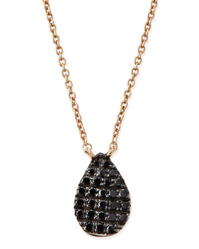 Rose Gold Black Diamond Teardrop Necklace