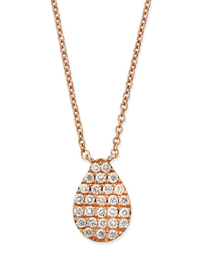 Rose Gold White Diamond Teardrop Necklace