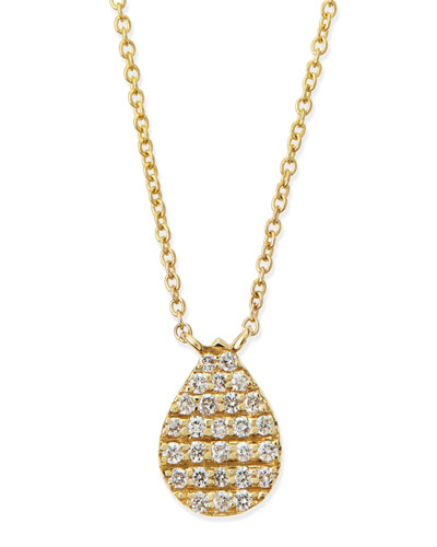 Yellow Gold White Diamond Teardrop Necklace