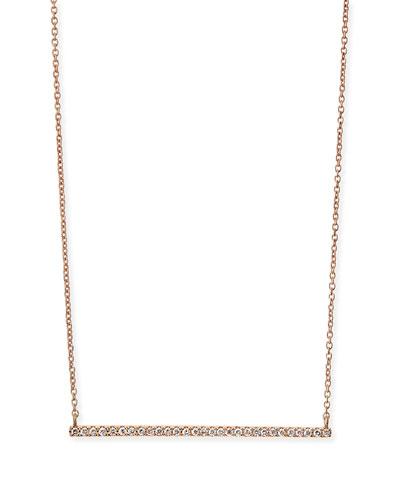 Rose Gold White Diamond Bar Necklace