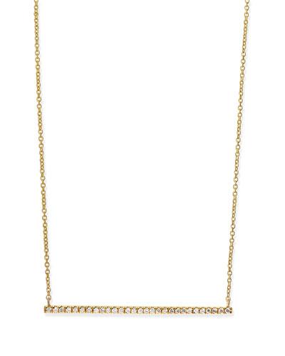 Yellow Gold White Diamond Bar Necklace