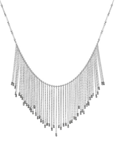 Spring Sterling Silver Necklace with Diamonds, Large