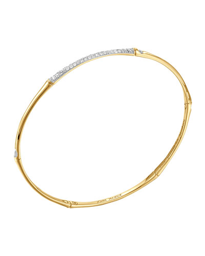 Bamboo 18k Gold & Pave Diamond Center Bangle