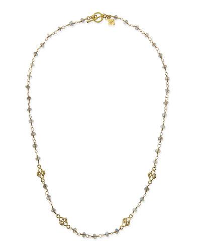 Sueno 18k Necklace with Labradorite Beads & Diamond Scrolls