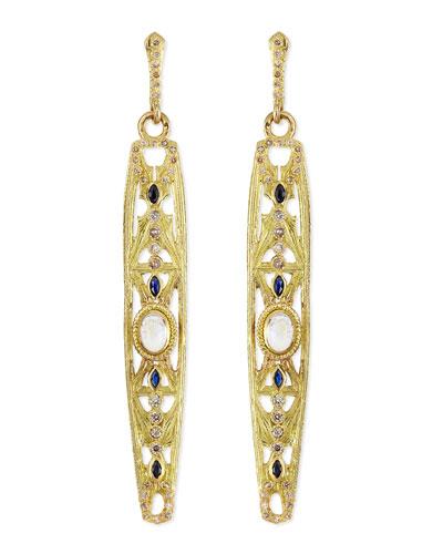 18k Elongated Moonstone Earrings