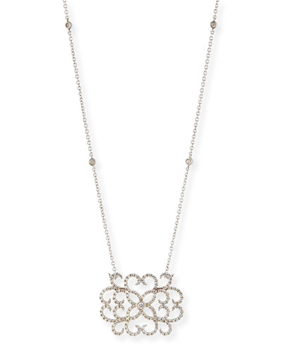 18k White Gold & Diamond Lace Heart Pendant Necklace