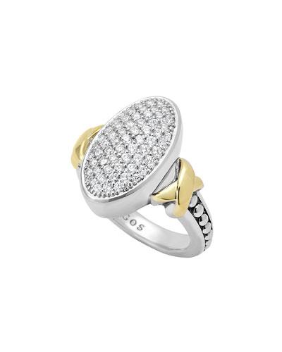 Sterling Silver Caviar & 18k Gold Oval Pave Diamond Ring