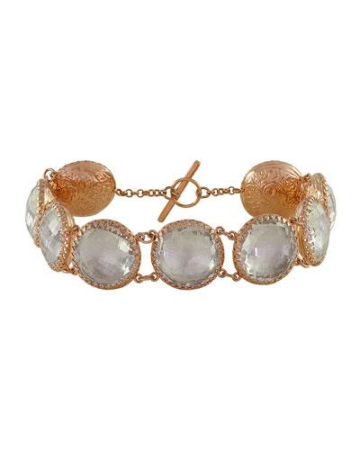 Olivia Gold-Washed Topaz Button Bracelet, White