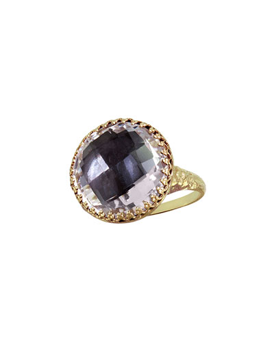 Olivia Gold-Washed Topaz Button Ring, Gray
