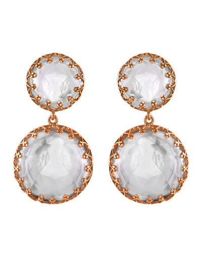 Olivia Gold-Washed Topaz Two-Drop Earrings, White
