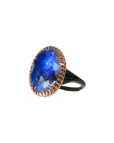 Anabel Gold-Washed Topaz Ring, Cobalt