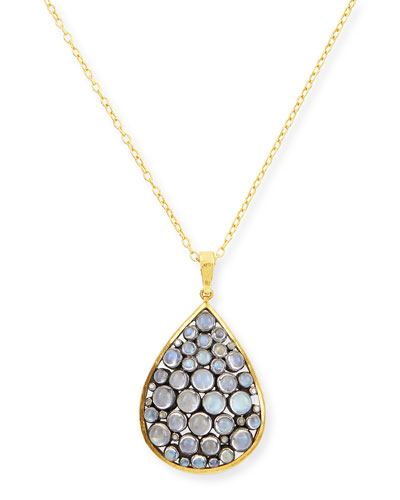 Venus Collection Moonstone & Diamond Teardrop Pendant Necklace