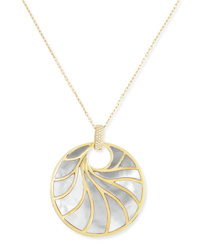 Large 18k Yellow Gold, Mother-of-Pearl & Diamond Pendant Necklace