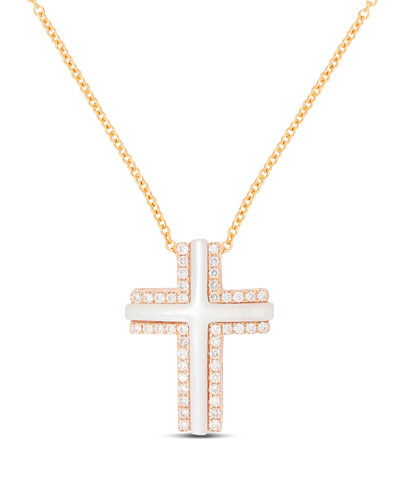 Small 18k Rose Gold Cross Necklace with Mother-of-Pearl & Diamonds