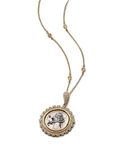 Antiquity 20k Scalloped Coin Pendant Necklace with Diamonds