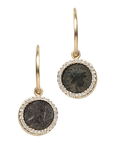 Antiquity 20k Flip Coin Earrings with Diamonds
