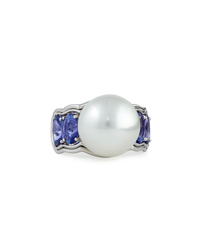 Aura 18k White Gold Ring with Tanzanite & White Pearl