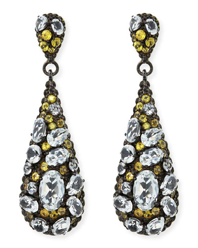 Yellow Sapphire & White Topaz Teardrop Earrings