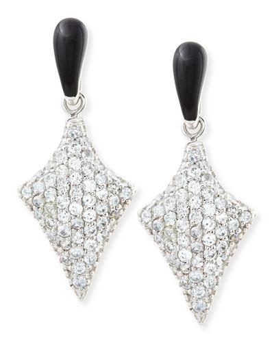 Art Deco Black Enamel & White Zircon Pave Arrow Earrings