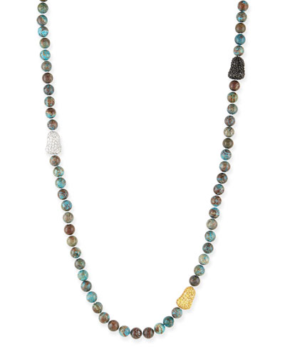 "Chrysocolla & Pave Ball Necklace, 38""L"