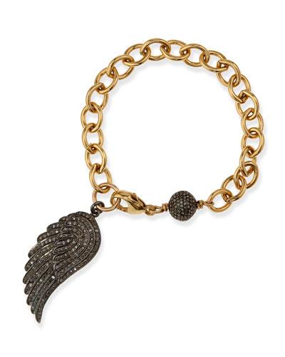 Link Bracelet with Pave Diamond Wing
