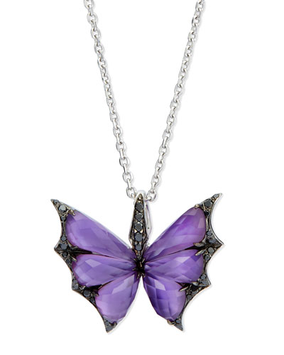Fly By Night Amethyst Bat-Moth Pendant Necklace