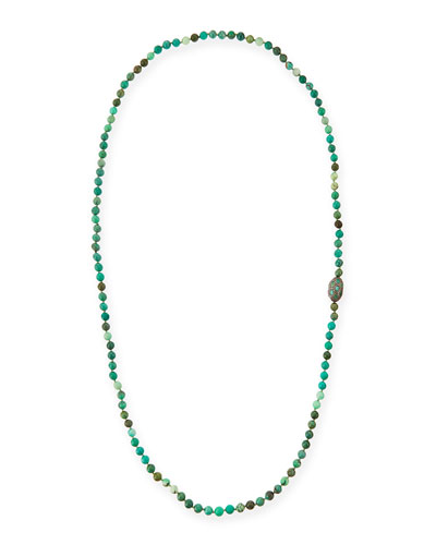 Green Moss Opal Necklace with Diamonds & Emeralds, 46""