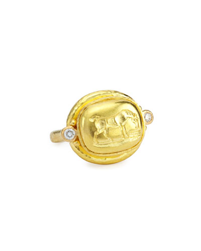 Grazing Horse 19k Gold & Diamond Ring