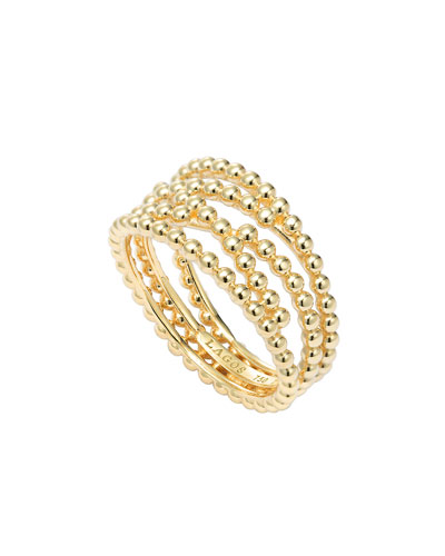 Covet 18k Gold Caviar Band Ring, Size 7