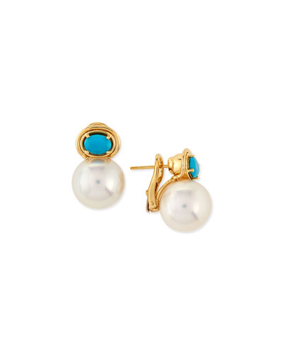 Aura South Sea Pearl & Turquoise Earrings