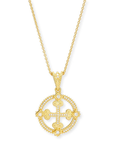 Aegean Diamond Round Cross Pendant Necklace
