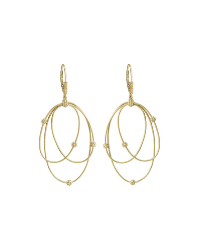 18k Gold Caviar Ball 3-Hoop Earrings