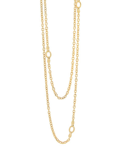 Covet 18k Gold Chain Necklace with Circle Stations