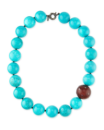 Valhalla Turquoise & Wood Bead Necklace