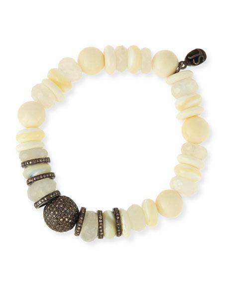 fc46d037f80 Sheryl Lowe 11mm Mixed Bead Bracelet with Pavé Diamonds, White