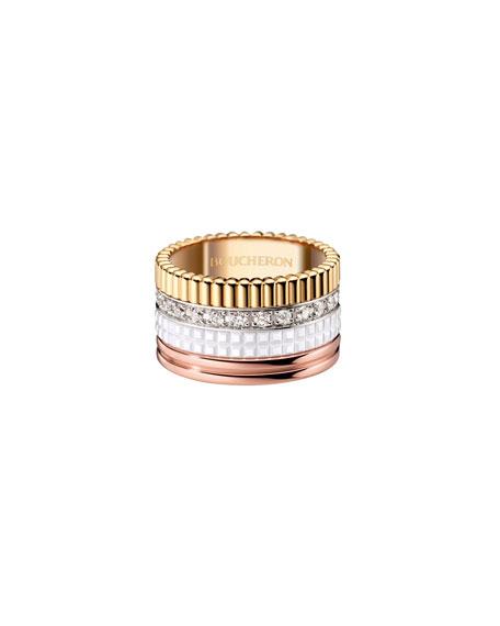 Boucheron Quatre Large 18K Gold & White Ceramic Ring with Diamonds, Size 55