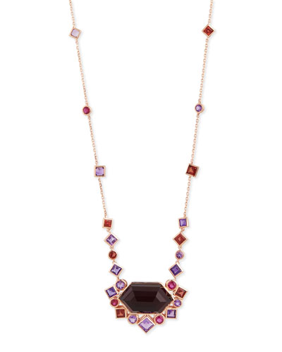 Gold Struck Garnet, Ruby & Amethyst Pendant Necklace