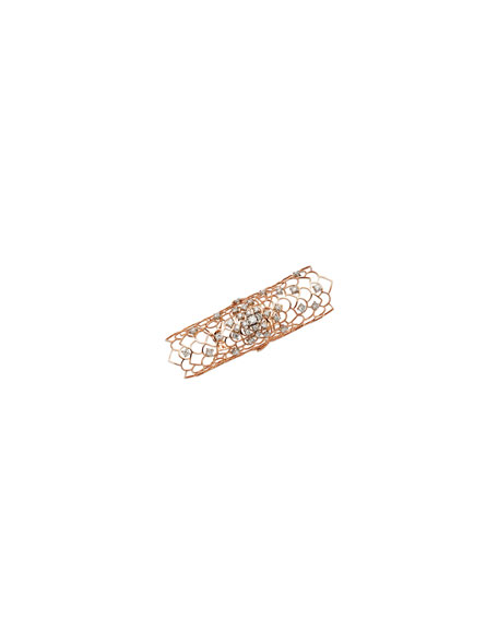 Staurino Fratelli Moresca Armor 18k Rose Gold & Diamond Long Hinged Ring 3I2knwLmoo