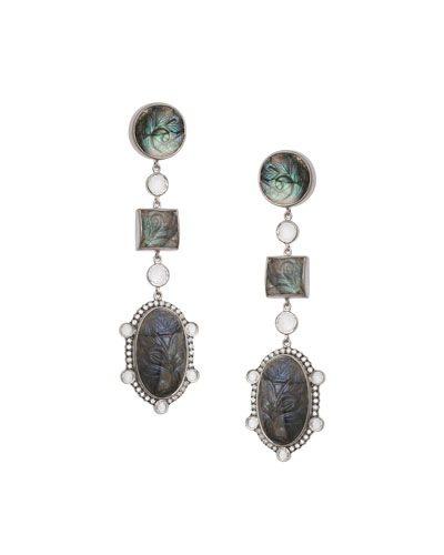 Affinity Three-Drop Labradorite Earrings with Diamonds