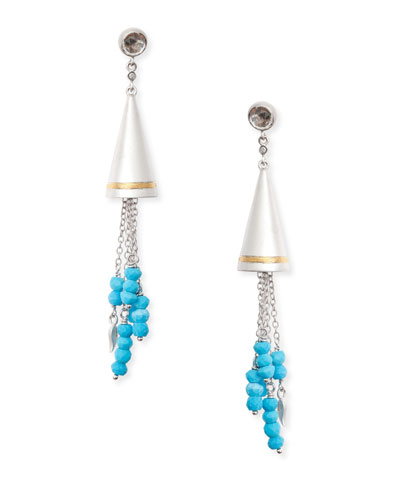 Vitality Beaded Turquoise Cone Earrings