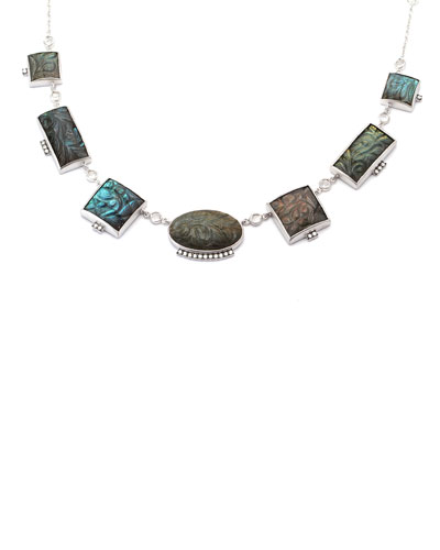 Affinity Short Carved Labradorite Necklace with Diamonds, 16