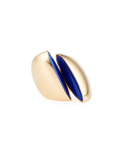 Eclisse Rock Crystal & Lapis Ring in 18K Pink Gold, Size 7
