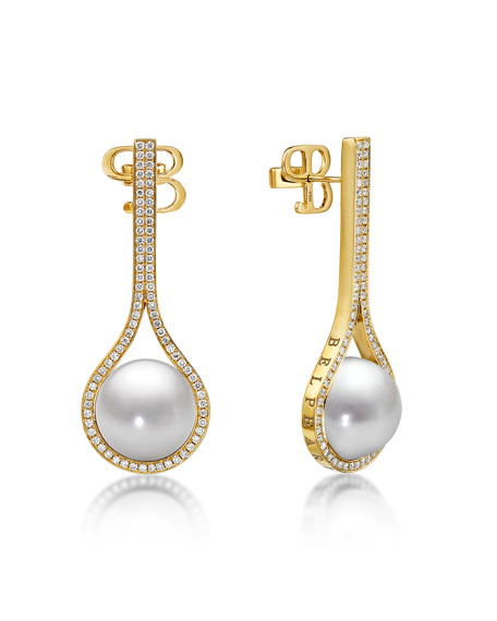 Belpearl Kobe Drop Pearl & Diamond Earrings OULTaDkmpf